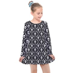 Pattern Skull And Bats Vintage Halloween Black Kids  Long Sleeve Dress by genx