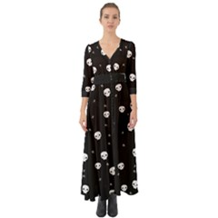 Pattern Skull Stars Halloween Gothic On Black Background Button Up Boho Maxi Dress by genx