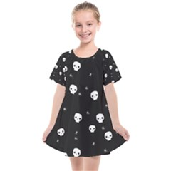 Pattern Skull Stars Halloween Gothic On Black Background Kids  Smock Dress by genx