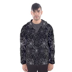 Pattern Spiderweb Halloween Gothic On Black Background Hooded Windbreaker (men) by genx