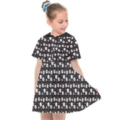 Pattern Skull Bones Halloween Gothic On Black Background Kids  Sailor Dress by genx