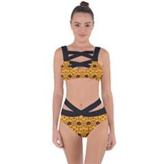 Pattern Pumpkin Spider Vintage Halloween Gothic Orange And Black Bandaged Up Bikini Set  by genx