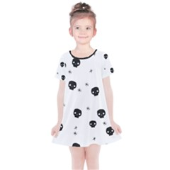 Pattern Skull Stars Handrawn Naive Halloween Gothic Black And White Kids  Simple Cotton Dress by genx