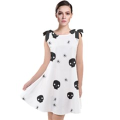 Pattern Skull Stars Handrawn Naive Halloween Gothic Black And White Tie Up Tunic Dress by genx