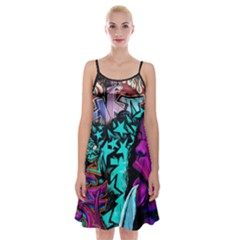 Graffiti Woman And Monsters Turquoise Cyan And Purple Bright Urban Art With Stars Spaghetti Strap Velvet Dress