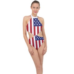 Us Flag Stars And Stripes Maga Halter Side Cut Swimsuit by snek