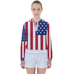 Us Flag Stars And Stripes Maga Women s Tie Up Sweat by snek