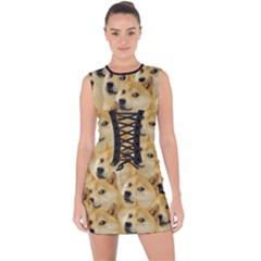 Doge Meme Doggo Kekistan Funny Pattern Lace Up Front Bodycon Dress by snek