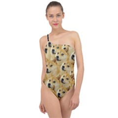 Doge Meme Doggo Kekistan Funny Pattern Classic One Shoulder Swimsuit by snek