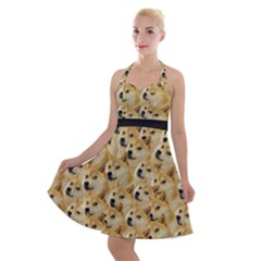 Doge Meme Doggo Kekistan Funny Pattern Halter Party Swing Dress  by snek