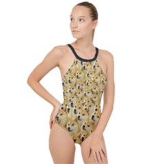 Doge Meme Doggo Kekistan Funny Pattern High Neck One Piece Swimsuit by snek
