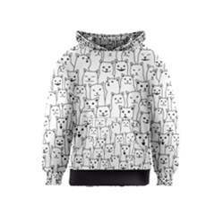 Funny Cat Pattern Organic Style Minimalist On White Background Kids  Pullover Hoodie by genx