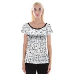 Funny Cat Pattern Organic Style Minimalist On White Background Cap Sleeve Top by genx