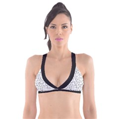 Funny Cat Pattern Organic Style Minimalist On White Background Plunge Bikini Top by genx