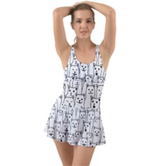Funny Cat Pattern Organic Style Minimalist On White Background Ruffle Top Dress Swimsuit by genx