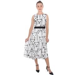 Funny Cat Pattern Organic Style Minimalist On White Background Midi Tie Back Chiffon Dress by genx