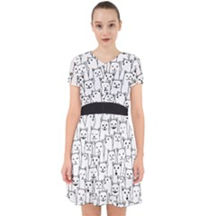 Funny Cat Pattern Organic Style Minimalist On White Background Adorable In Chiffon Dress by genx