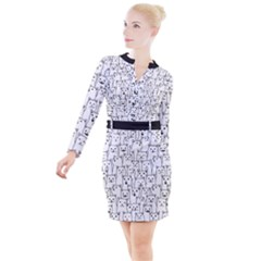 Funny Cat Pattern Organic Style Minimalist On White Background Button Long Sleeve Dress by genx