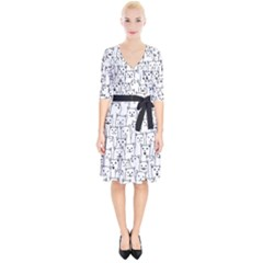 Funny Cat Pattern Organic Style Minimalist On White Background Wrap Up Cocktail Dress by genx