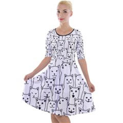 Funny Cat Pattern Organic Style Minimalist On White Background Quarter Sleeve A Line Dress by genx