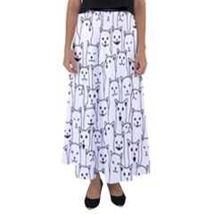 Funny Cat Pattern Organic Style Minimalist On White Background Flared Maxi Skirt by genx