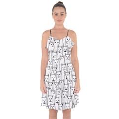 Funny Cat Pattern Organic Style Minimalist On White Background Ruffle Detail Chiffon Dress by genx