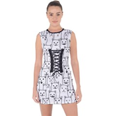 Funny Cat Pattern Organic Style Minimalist On White Background Lace Up Front Bodycon Dress by genx