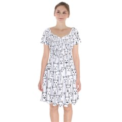Funny Cat Pattern Organic Style Minimalist On White Background Short Sleeve Bardot Dress by genx