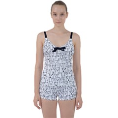 Funny Cat Pattern Organic Style Minimalist On White Background Tie Front Two Piece Tankini by genx