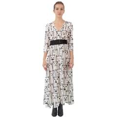 Funny Cat Pattern Organic Style Minimalist On White Background Button Up Boho Maxi Dress by genx