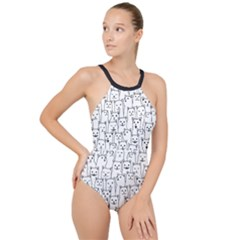 Funny Cat Pattern Organic Style Minimalist On White Background High Neck One Piece Swimsuit by genx