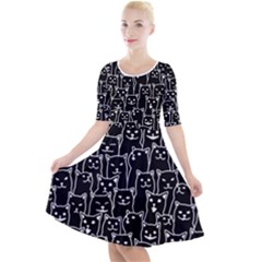 Funny Cat Pattern Organic Style Minimalist On Black Background Quarter Sleeve A Line Dress by genx