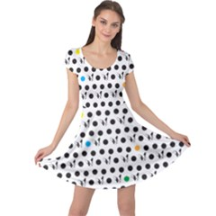 Boston Terrier Dog Pattern With Rainbow And Black Polka Dots Cap Sleeve Dress by genx