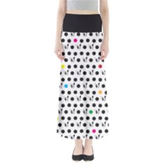 Boston Terrier Dog Pattern With Rainbow And Black Polka Dots Full Length Maxi Skirt by genx