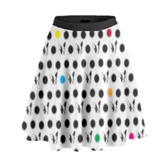 Boston Terrier Dog Pattern With Rainbow And Black Polka Dots High Waist Skirt by genx