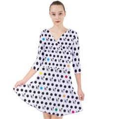 Boston Terrier Dog Pattern With Rainbow And Black Polka Dots Quarter Sleeve Front Wrap Dress by genx
