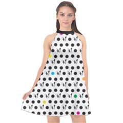 Boston Terrier Dog Pattern With Rainbow And Black Polka Dots Halter Neckline Chiffon Dress