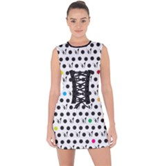 Boston Terrier Dog Pattern With Rainbow And Black Polka Dots Lace Up Front Bodycon Dress by genx