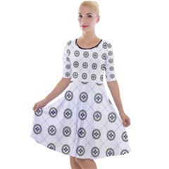 Logo Kekistan Pattern Elegant With Lines On White Background Quarter Sleeve A Line Dress by snek