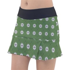 Logo Kekistan Pattern Elegant With Lines On Green Background Tennis Skirt by snek