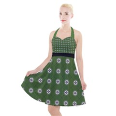Logo Kekistan Pattern Elegant With Lines On Green Background Halter Party Swing Dress  by snek