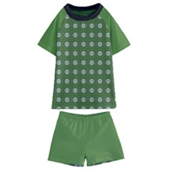 Logo Kekistan Pattern Elegant With Lines On Green Background Kids  Swim Tee And Shorts Set by snek