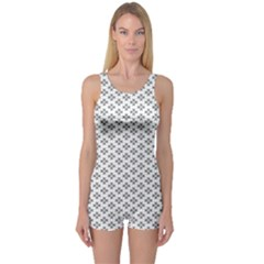 Logo Kek Pattern Black And White Kekistan White Background One Piece Boyleg Swimsuit by snek