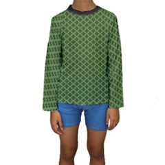 Logo Kek Pattern Black And Kekistan Green Background Kids  Long Sleeve Swimwear by snek