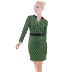 Logo Kek Pattern Black And Kekistan Green Background Button Long Sleeve Dress by snek