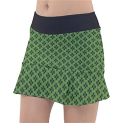 Logo Kek Pattern Black And Kekistan Green Background Tennis Skirt by snek