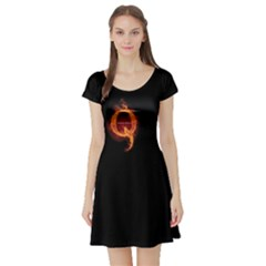 Qanon Letter Q Fire Effect Wwgowga Wwg1wga Short Sleeve Skater Dress by snek