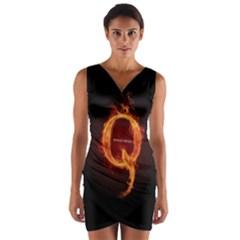 Qanon Letter Q Fire Effect Wwgowga Wwg1wga Wrap Front Bodycon Dress by snek