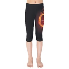 Qanon Letter Q Fire Effect Wwgowga Wwg1wga Kids  Capri Leggings  by snek