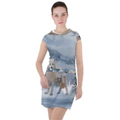 Wonderful Arctic Wolf In The Winter Landscape Drawstring Hooded Dress by FantasyWorld7